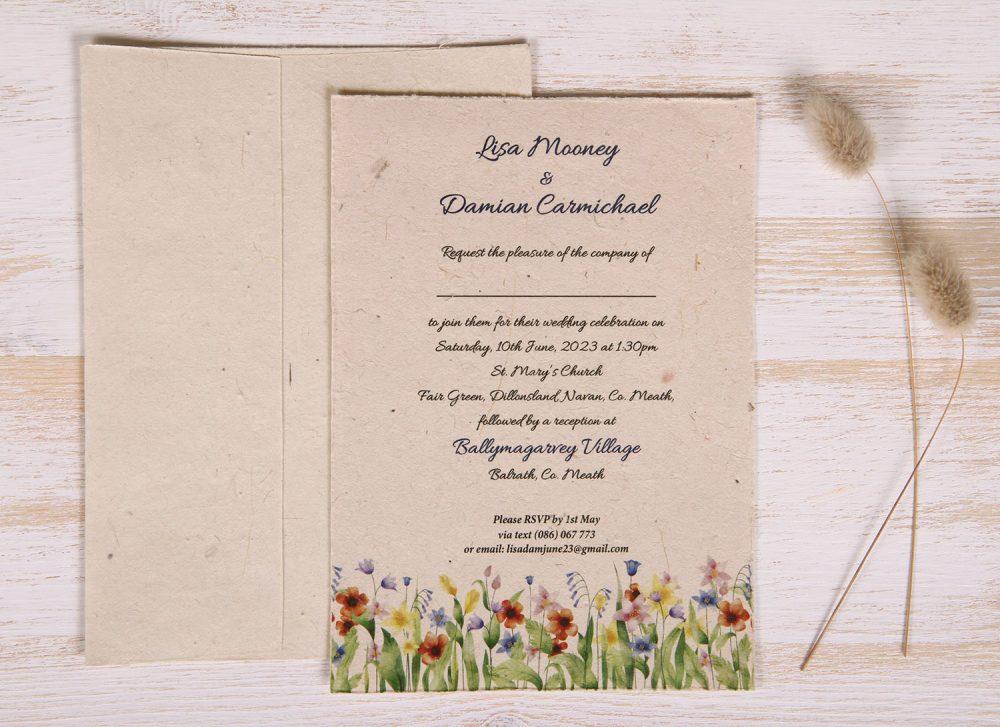 Plantable 5 x 7 Wedding Invitation - Summer Meadow (front)