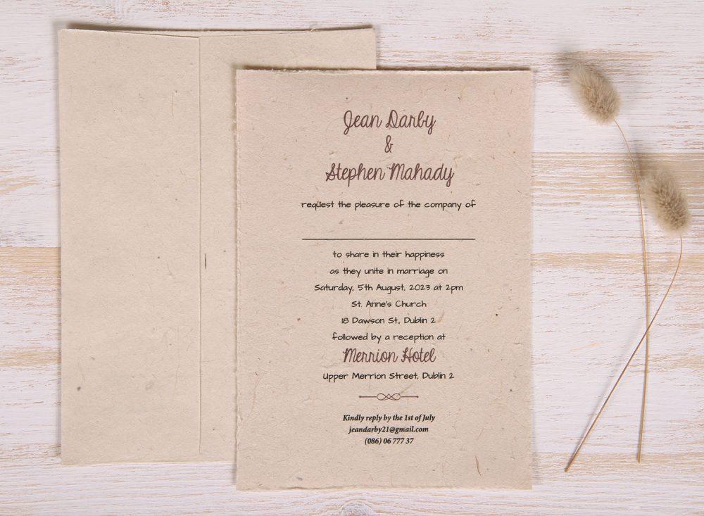 Plantable 5 x 7 Wedding Invitation - Traditional (front)
