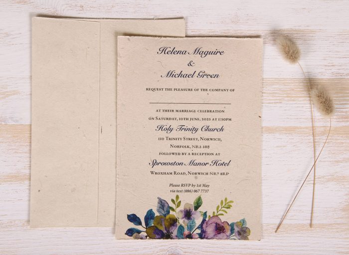 Plantable 5 x 7 Wedding Invitation - Vibrant Violet (front)
