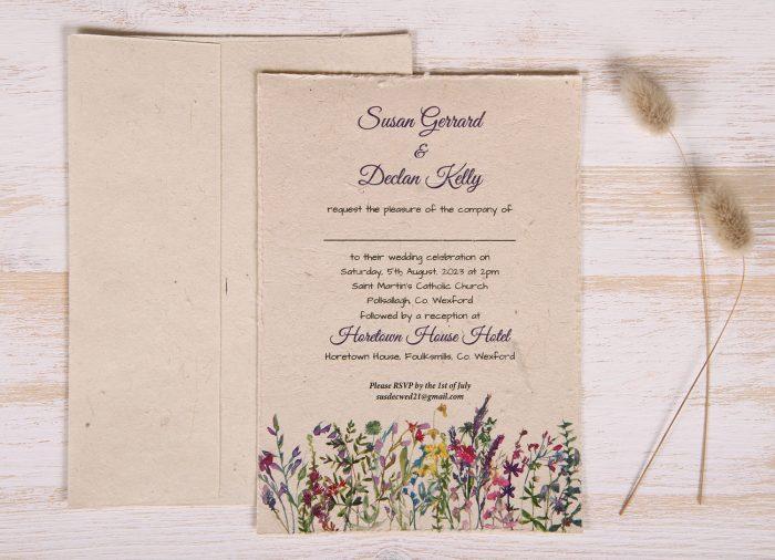 Plantable 5 x 7 Wedding Invitation - Wildflower Meadow (front)