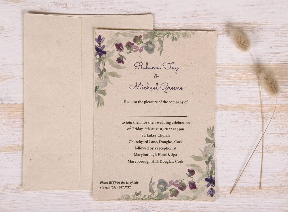 Plantable 5 x 7 Wedding Invitation - Wildflower (front)