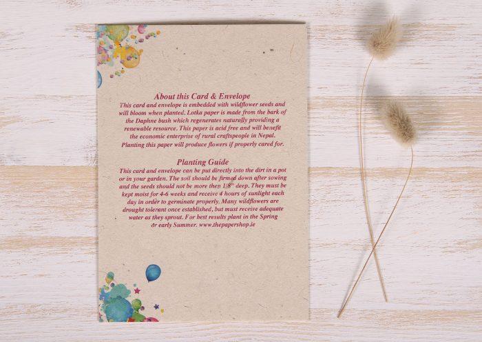 Seeded Plantable 30th Birthday Card - Balloon Tree - Back