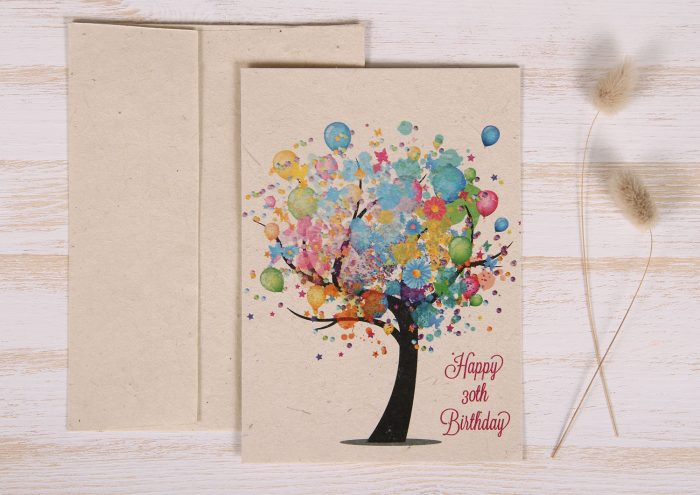 Seeded Plantable 30th Birthday Card - Balloon Tree - Front