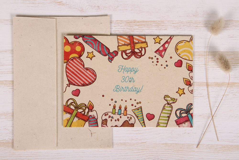 Seeded Plantable 30th Birthday Card - Celebration - Front