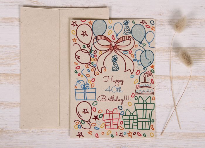 Seeded Plantable 40th Birthday Card - Doodles - Front