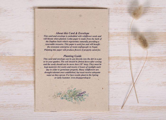 Seeded Plantable 40th Birthday Card - Lavender Wreath - BackSeeded Plantable 40th Birthday Card - Lavender Wreath - Back
