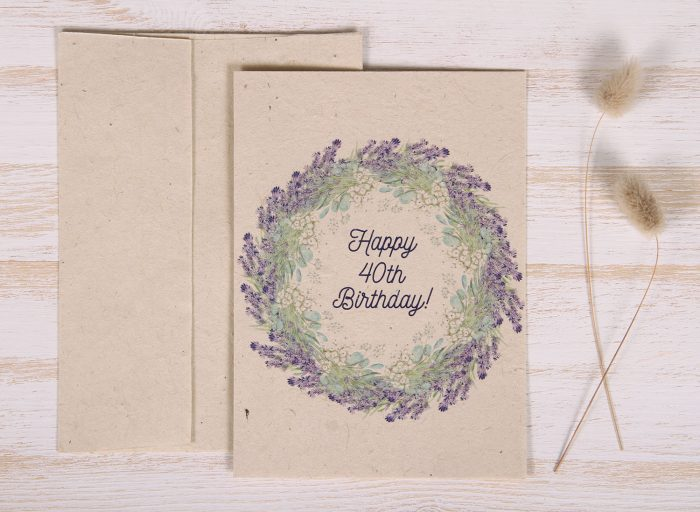 Seeded Plantable 40th Birthday Card - Lavender Wreath - Front