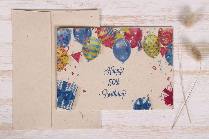 Seeded Plantable 50th Birthday Card - Balloons & Banner - Front