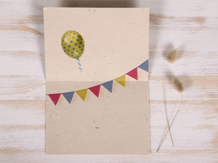 Seeded Plantable 50th Birthday Card - Balloons & Banner - Inside