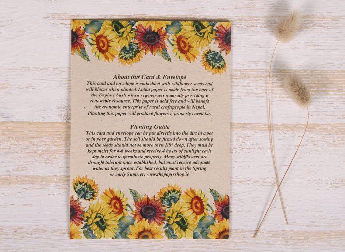 Seeded Plantable 50th Birthday Card - Sunflowers - Back