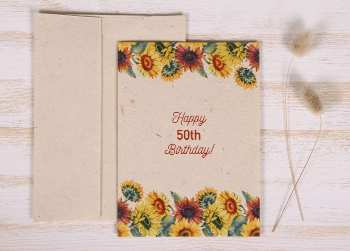 Seeded Plantable 50th Birthday Card - Sunflowers - Front