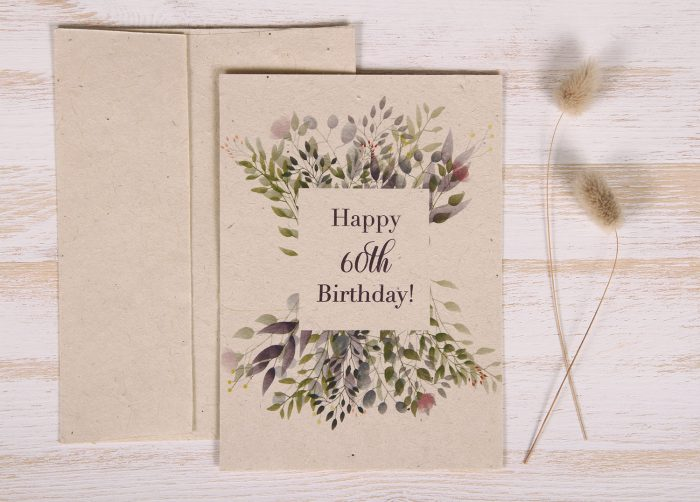 Seeded Plantable 60th Birthday Card - Botanical - Front