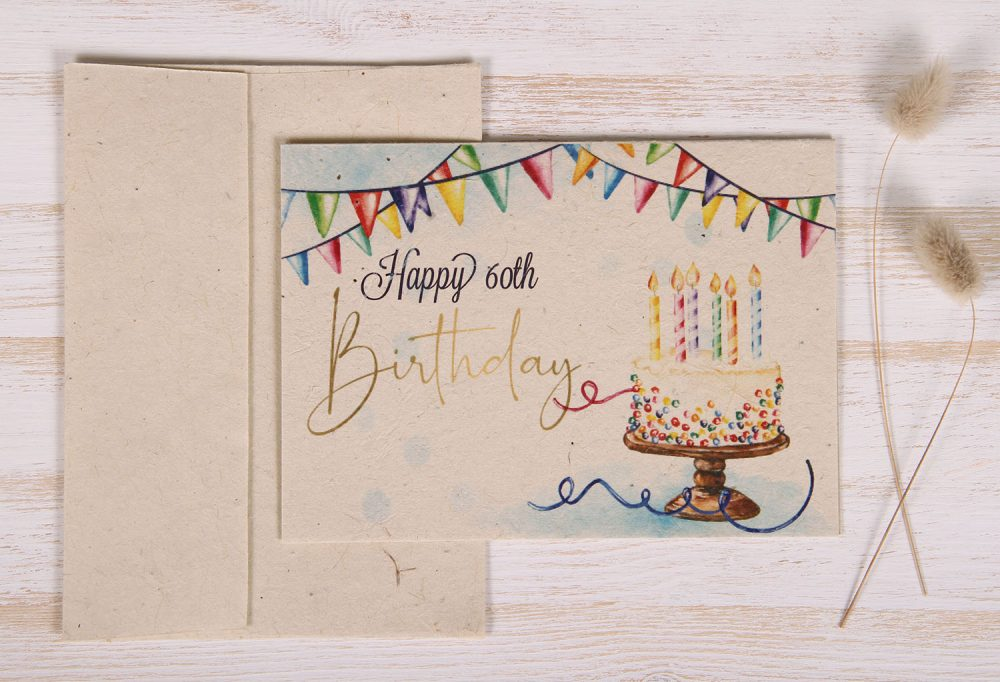 Seeded Plantable 60th Birthday Card - Gold - Front