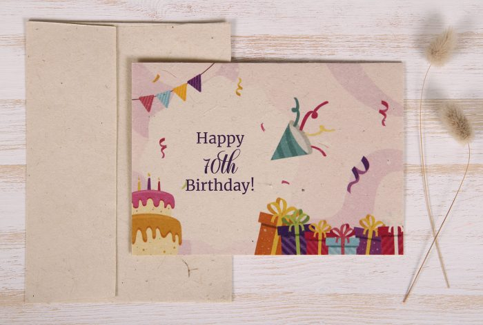 Seeded Plantable 70th Birthday Card - Festive - Front