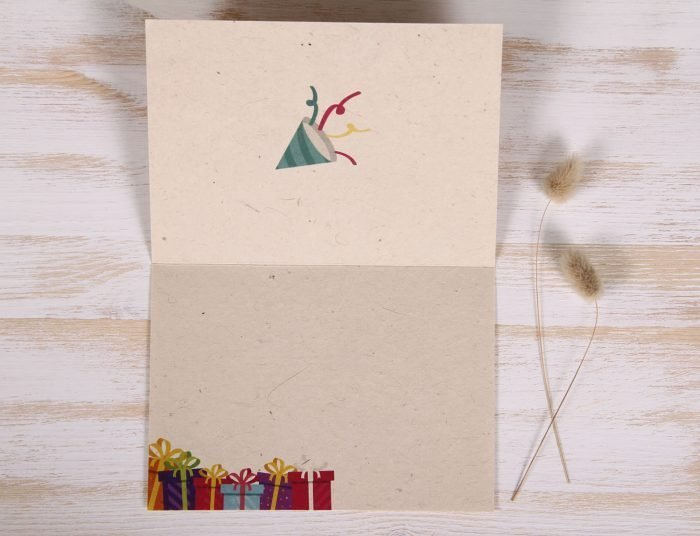 Seeded Plantable 70th Birthday Card - Festive - Inside