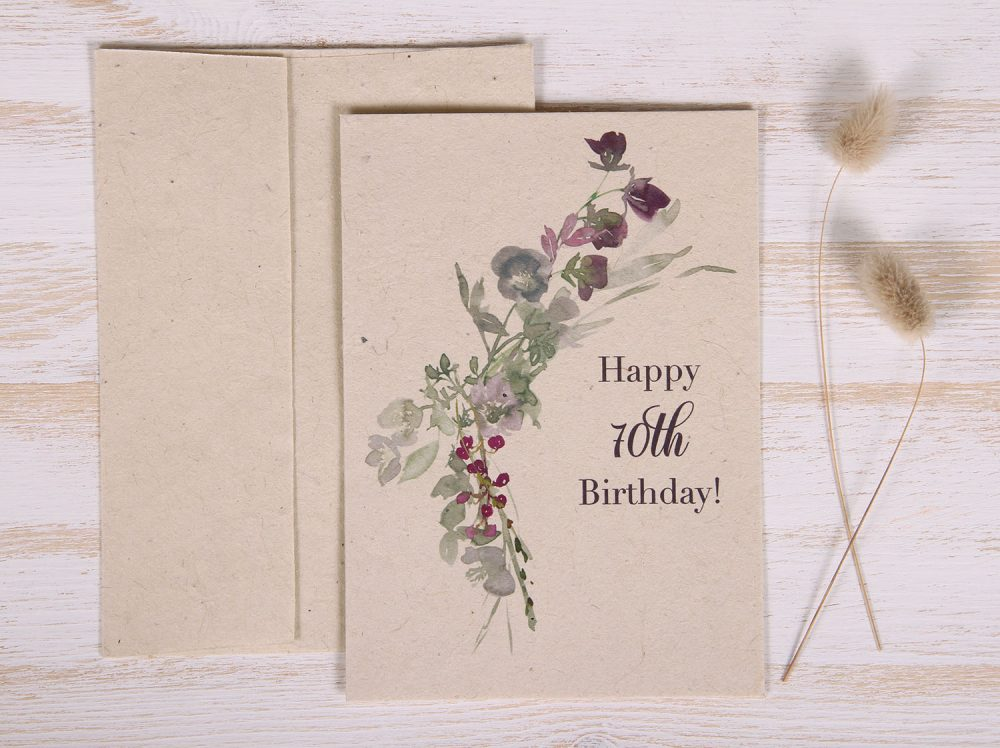 Seeded Plantable 70th Birthday Card - Wildflowers - Front