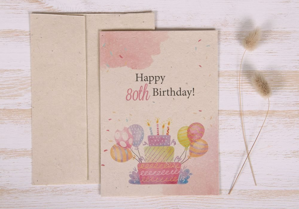 Seeded Plantable 80th Birthday Card - Cake & Balloons