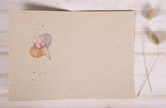 Seeded Plantable 80th Birthday Card - Cake & Balloons - Inside