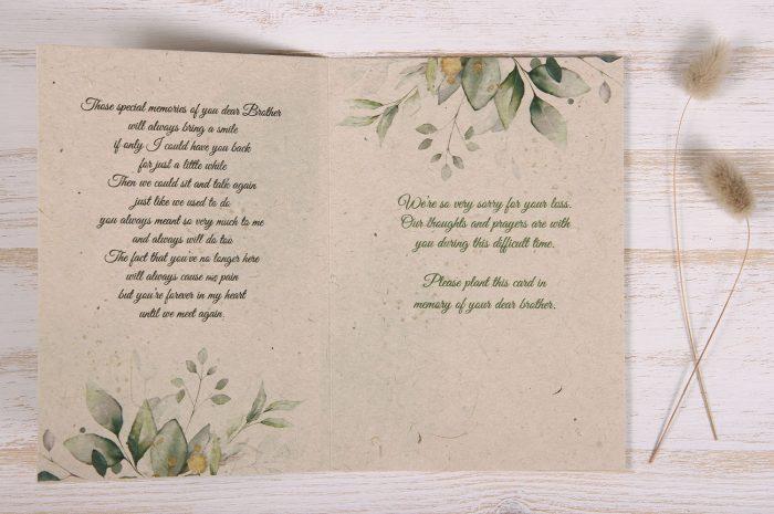 Seeded Plantable Condolence Card for Brother - Eucalyptus - Inside