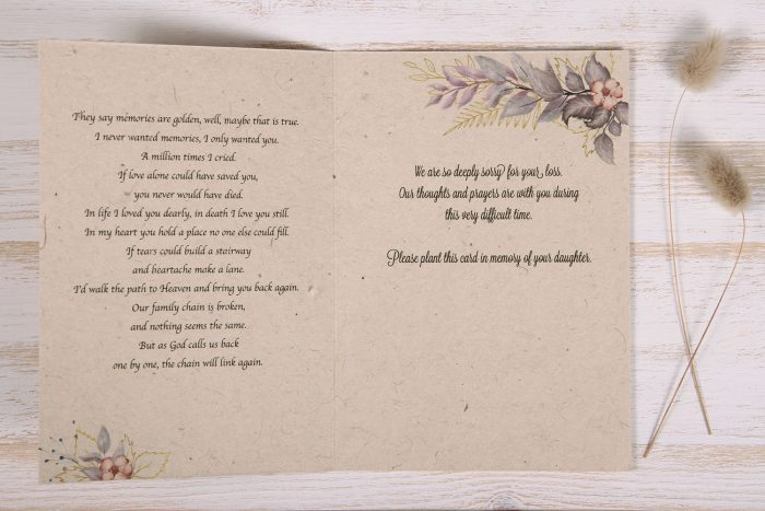 Seeded Plantable Condolence Card for Daughter - Lavender Leaves - Inside