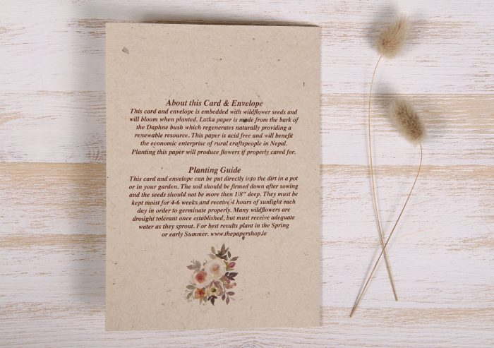 Seeded Plantable Condolence Card for Husband - Mauve & Pink - Back