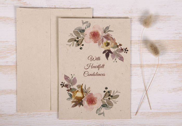 Seeded Plantable Condolence Card for Husband - Mauve & Pink - Front