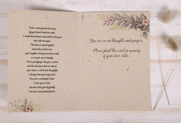 Seeded Plantable Condolence Card for Sister - Lavender Leaves - Inside