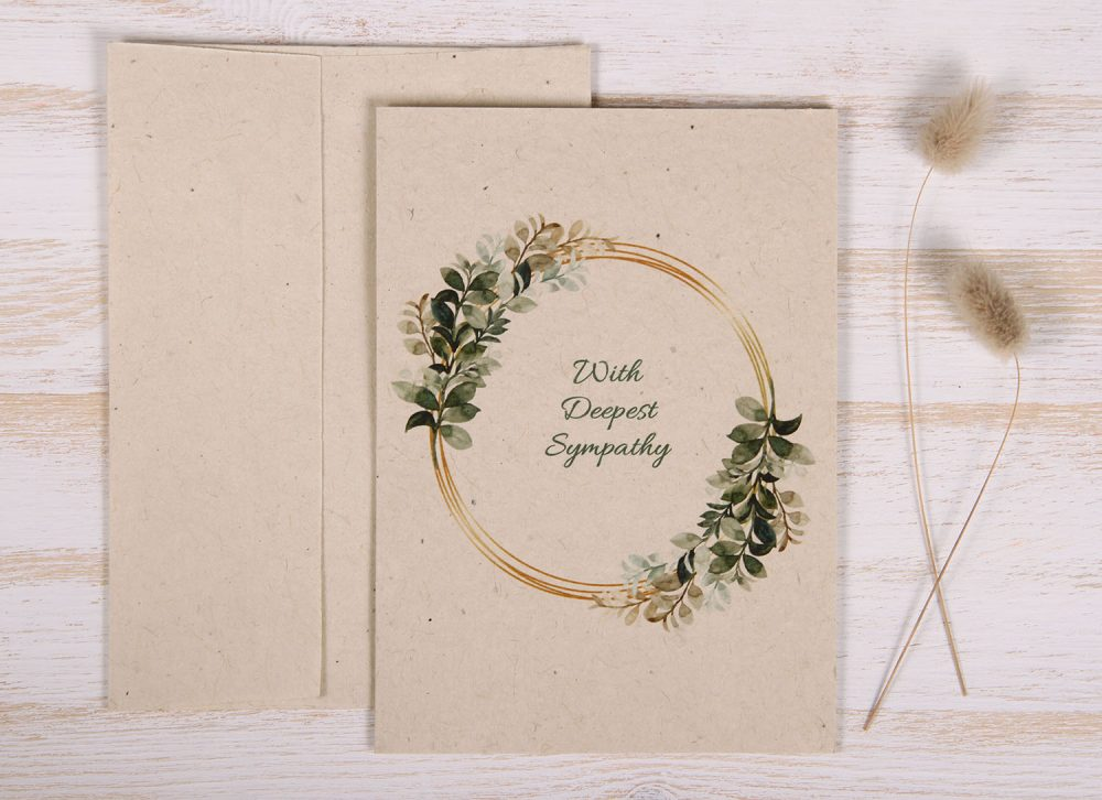 Seeded Plantable Condolence Card for Son - Gold Leaves - Front