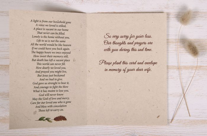 Seeded Plantable Condolence Card for Wife - Natural Wreath - Inside